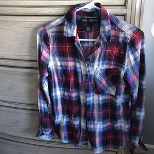 Tops - Plaid shirt, super silky material
